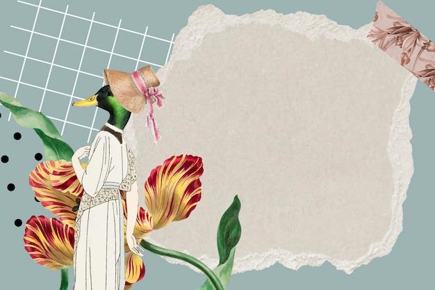 Colagem de papel de parede de fundo de quadro vintage, textura de papel vetorial com espaço de design