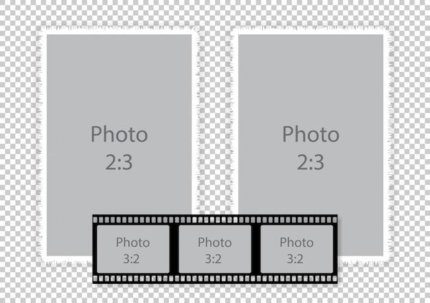 Colagem de quadros de tira de filme para álbum de fotos