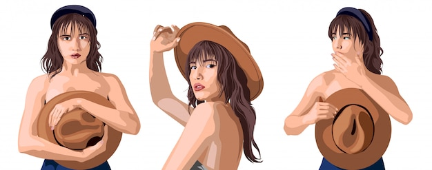 Colagem de uma linda garota caucasiana posando em diferentes posições
