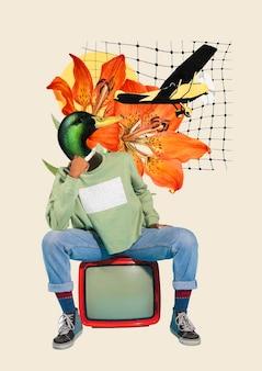 Colagem de vetor digital retrô, ilustração vintage arte de mídia mista