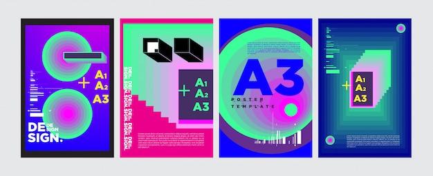 Colagem geométrica abstrata poster design em cores vivas