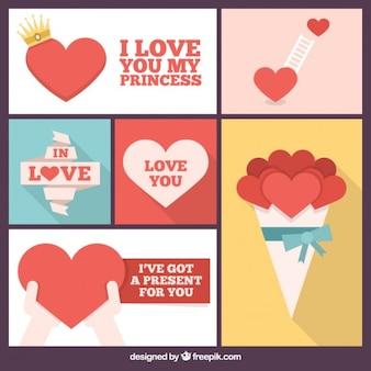 Colagem romântico de corações