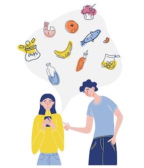 Colagem sobre o tema entrega uma garota e um cara pedem comida juntos pelo celular