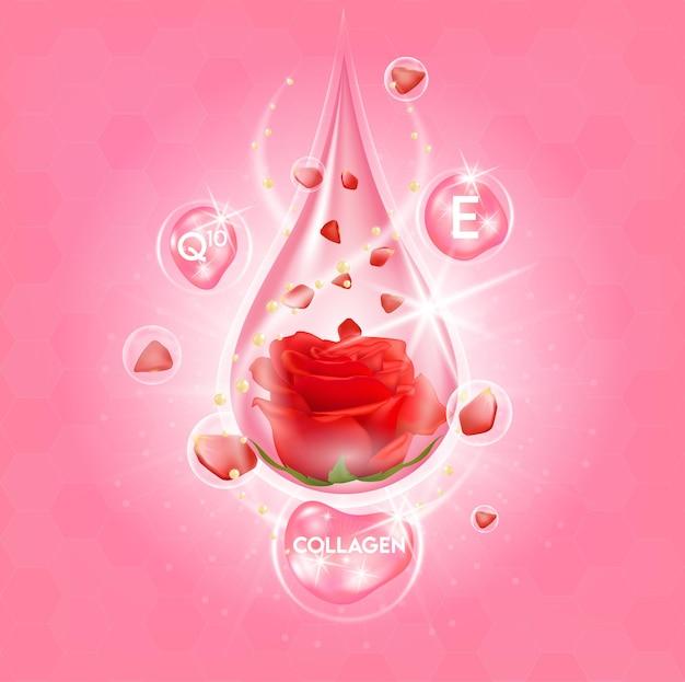 Colágeno de rosa e soro vitamínico extraído Vetor Premium