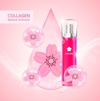 Colágeno e soro sakura para produto de beleza.