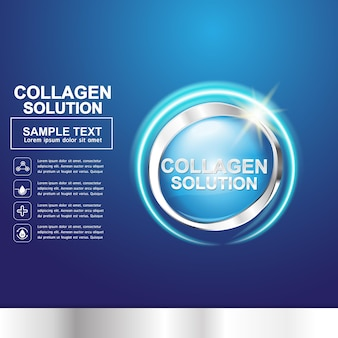 Colágeno e vitamina para o conceito de pele