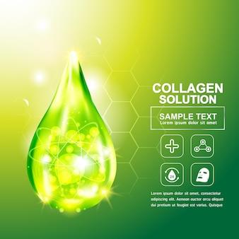 Colágeno ou soro fundo verde conceito produtos cosméticos de cuidados da pele.