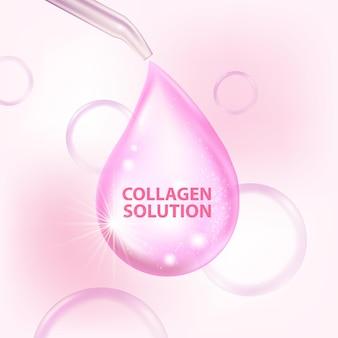 Colágeno soro cosmético para cuidados com a pele
