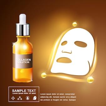Colágeno soro e vitamina fundo conceito skin care cosmetic poster.