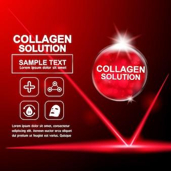 Colágeno soro e vitamina para cuidados com a pele.