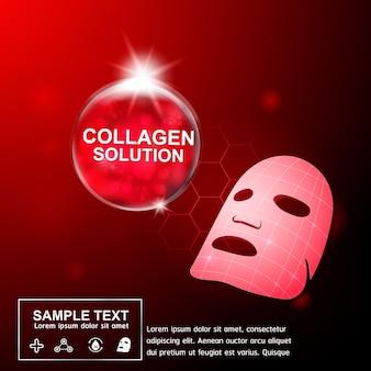 Colágeno soro e vitamina para o conceito de produtos de cuidado de pele.