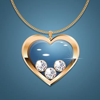 Colar com pingente de coração em corrente de ouro.