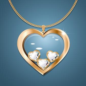 Colar com três corações de diamante em uma corrente de ouro