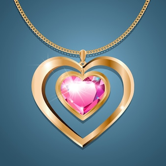 Colar com um coração de pedra rosa em uma corrente de ouro