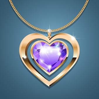 Colar com um coração de pedra roxa em uma corrente de ouro