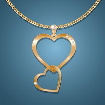 Colar com um pingente de dois corações numa corrente de ouro