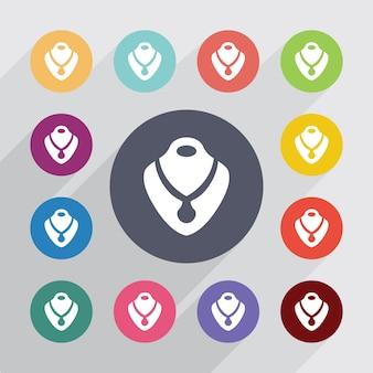 Colar, conjunto de ícones lisos. botões coloridos redondos. vetor
