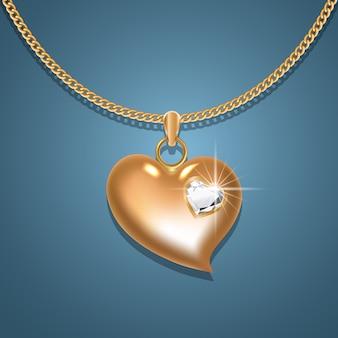 Colar de coração de ouro com diamantes em uma corrente de ouro.