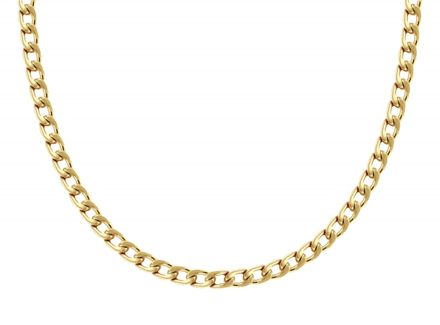Colar de corrente de ouro amarelo em forma de oito elos é formado em meia forma redonda e mostrado em branco