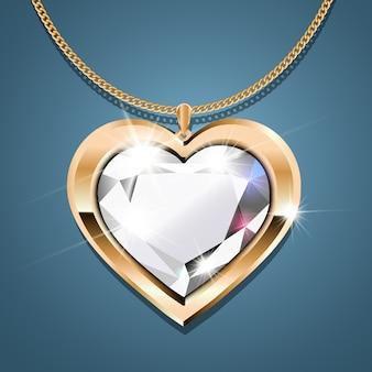 Colar de ouro com um diamante.