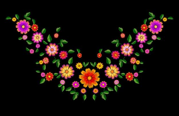 Colar de remendo colorido do bordado brilhante da flor, decoração de moda