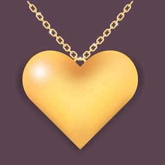 Colar elegante com corrente de coração e anel de ouro