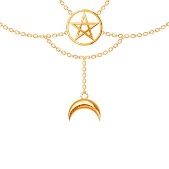 Colar metálico dourado. pingente e correntes de pentagrama. Vetor Premium