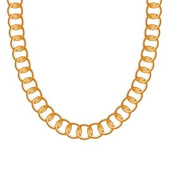 Colar ou pulseira metálica dourada de corrente grossa. acessório de moda pessoal. escova incluída.