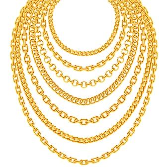 Colares de corrente metálica dourada definida. ilustração de decoração de luxo de moda ouro