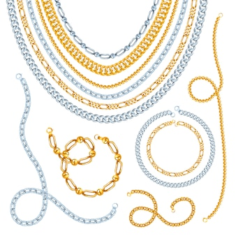 Colares de correntes de ouro e prata