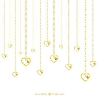 Colares de ouro em forma de coração