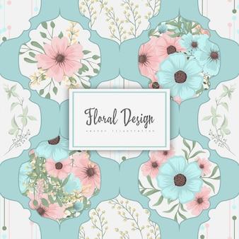 Colcha de retalhos abstrata com flores
