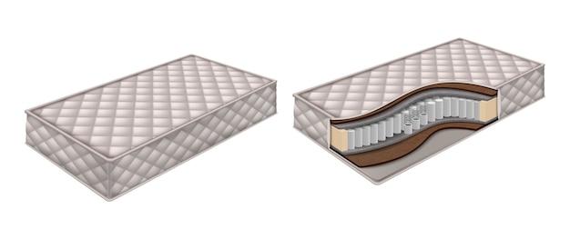 Colchão ortopédico e estrutura do colchão cortados com vista de camadas. ilustração isolada