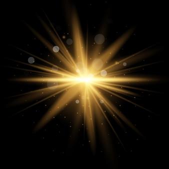 Colden star amarelo estourou com poeira e brilho isolado. efeito de luz brilhante com raios e partículas de brilho.