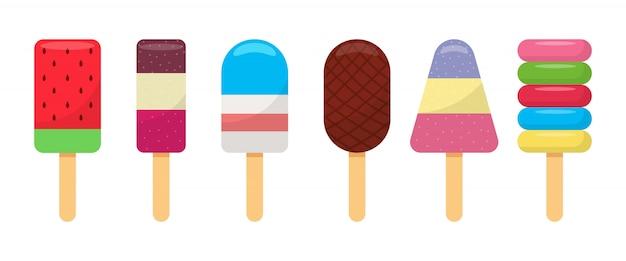 Cole a ilustração da coleção de sorvete no fundo branco