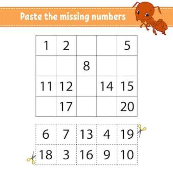 Cole os números ausentes. jogo para crianças. prática de caligrafia. aprendendo números para crianças