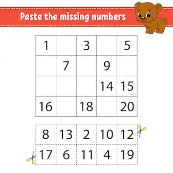 Cole os números ausentes. jogo para crianças. prática de caligrafia. aprendendo números para crianças.