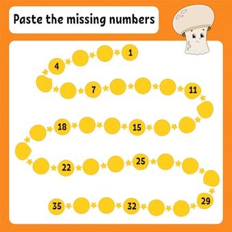 Cole os números ausentes. prática de caligrafia. aprendendo números para crianças.