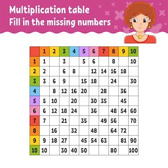 Cole os números ausentes. tabela de multiplicação de aprendizagem. prática de caligrafia.