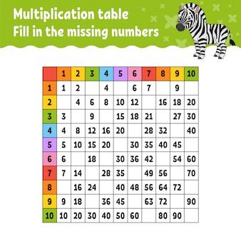 Cole os números ausentes. tabela de multiplicação de aprendizagem.
