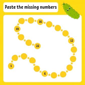 Cole os números que faltam.