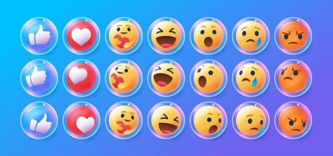 coleção 3d de emojis do facebook