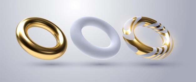 Coleção 3d de formas geométricas de anel dourado e branco