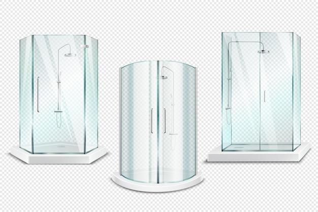 Coleção 3d realista transparente da cabine do chuveiro de barracas de chuveiro isoladas com as portas lustrosas em transparente