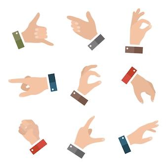 Coleção aberta com mãos vazias mostrando diferentes gestos