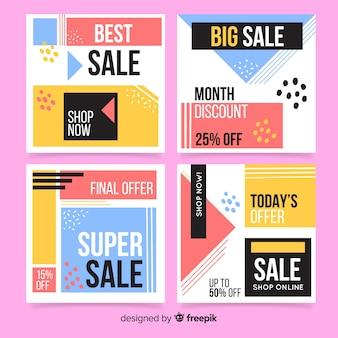 Coleção abstrata colorida do post do instagram da venda