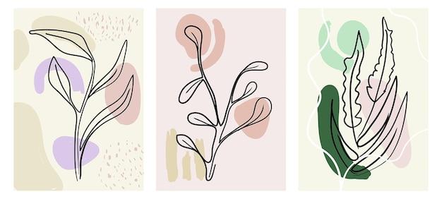 Coleção abstrata com flores design moderno contemporâneo formas decorativas plantas florais
