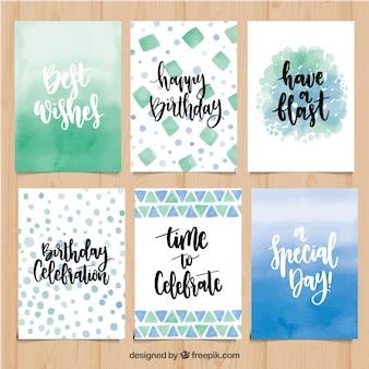 Coleção abstrata de cartões de aniversário com frases