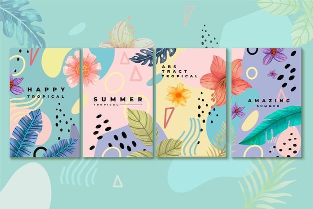 Coleção abstrata de cartões tropicais