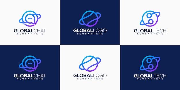 Coleção abstrata de design de logotipo de tecnologia global